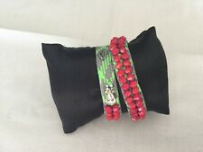 Juicy Couture New & Gen. Green/Red Fabric Wrap Bracelet With Crown Logo