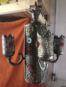 """Brass Moroccan Church 5 Light Jeweled Chandelier Lamp 21"""" Gothic Mid Century MCM"""