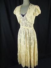 Vtg 30-40s Champagne Floral Lace Low Back Dress/Bolero/Belt-Bust 34/XS