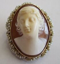 ANTIQUE ART DECO 14K YELLOW GOLD NATURAL SHELL CAMEO AND PEARL PENDANT/BROOCH