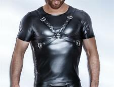 Mens PVC Wet look T Shirt with strap, Chest Harness  Clubwear roleplay Size M
