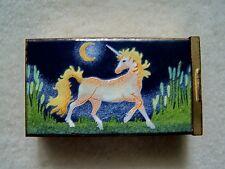 Vintage Metal LIMOGES LIMITED Unicorn Enamel Cigarette Case Trinket Box
