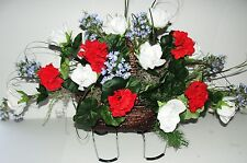Red Geraniums White Roses Memorial Cemetery Tombstone Saddle Blue Silk Flowers