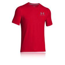 Maglie e top da uomo rossi corti per palestra , fitness , corsa e yoga s
