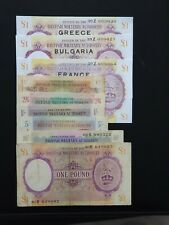 More details for british military authority/ b.m.a.full set 6 original banknotes+3 banknotes rep