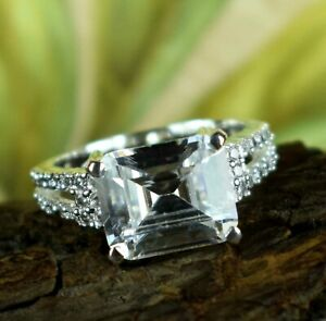 Simple Lovely Gift White Diamond Solitaire 6.39 Ct Emerald Cut Ring With Accents