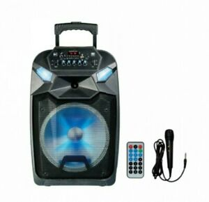 """Loud Party Speaker 12"""" with LED Light Bluetooth & Wire Microph Portable FM Radio"""