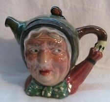 BESWICK MADE IN ENGLAND OLD WOMAN DICKENS SAIREY GAMP TEAPOT w DOT KERCHIEF