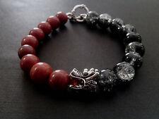 Dragon Head Blood Stone Black Crackle Toggle Clasp Baby Chrome King Bracelet