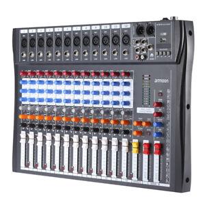 12 Kanal USB Mixer Live Studio Audio Mischpult Konsole Phantomspeisung Wireless