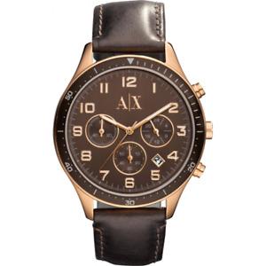 AX5102 New Genuine Armani Exchange Ladies Rose S/S Watch on Leather RRP £170