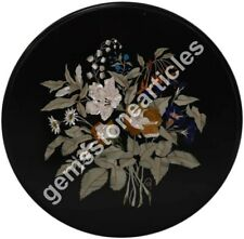 "24""x24"" Marble Black Top Coffee Table Inlaid Floral Art Christmas Gift Home Deco"