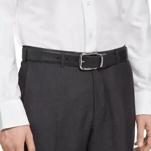 Ermenegildo Zegna Mens Textured Leather Buckle Belts in Black