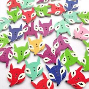 Holes Wood Buttons 50 Pcs Sewing Craft Scrapbook Mixed Cartoon Painted Fox JH