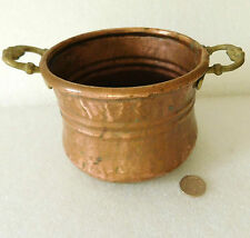 Old copper pot with 2 handles Planter vintage or antique