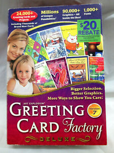 Pre-Owned Complete Greeting Card Factory Deluxe Version 7 Manual, DVD, Box VGC