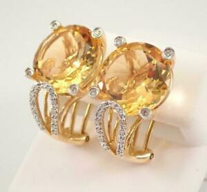 3Ct Round Cut Citrine & VVS1 Diamond Women's Stud Earring 14K Yellow Gold Finish