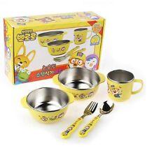 Pororo Non Slip Stainless Steel Kids Baby Toddler Bowl Dish Utensils Set 5Pcs