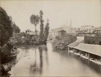 ND. France, Chartres, vue générale prise du pont neuf  vintage albumen print.