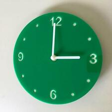 Round Green Gloss Clock, White Backed, White Hands & Silent Sweep Movement