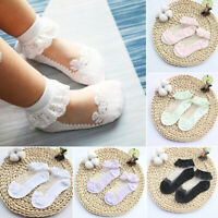 Girls Children Pure White Fancy Ankle Ruffle Frilly Short Lace Cotton Socks Bow