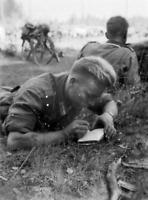 WW2 WWII Photo German Soldier Taking Notes World War Two Wehrmacht / 2575