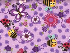 AE Nathan ~ Purple Ladybug Butterfly Flower ~ 100% Cotton Flannel Fabric Remnant