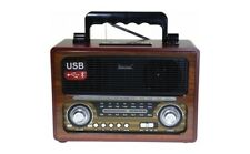Drei Band Retro Radio AUX-IN Bluetooth USB/SD/TF  MP3 mit Akku Holz Gehäuse