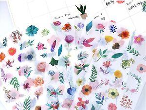 FLOWER STICKERS Floral Garden Plant Scrapbook Card Craft Stationery Decoration