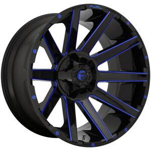 "Fuel D644 Contra 24x14 6x135/6x5.5"" -75mm Black/Milled/Blue Wheel Rim 24"" Inch"