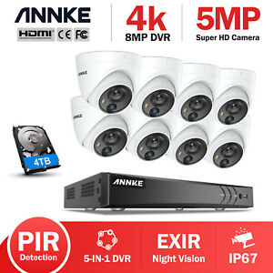 ANNKE 8CH Ultra HD 5MP/4K Home Security Camera System 8MP H.265+ CCTV DVR 0-4TB