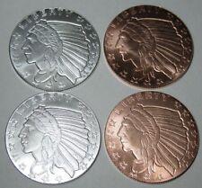 1/4 Oz .999 Fine Silver Rounds - Incuse 1929 $5 Indian Design w/ Copper Rounds