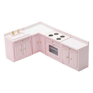 1:12 Dollhouse Birch Wood Miniature Kitchen Cabinet Home Furniture Accessory