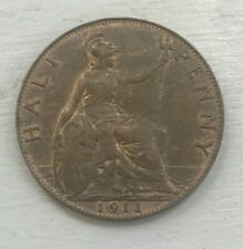 1911 Great Britain 1/2 Half Penny - Nice Hints of Red