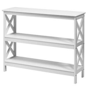 Narrow Console Table Modern Hallway Furniture Retro Slim Wooden Side Shelf