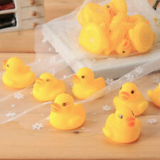 10pcs Baby Bathing Bath Tub Toys Mini Rubber Squeaky Float Duck Yellow OE