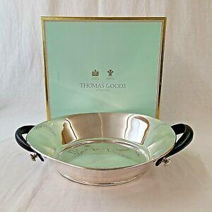 Thomas Goode London Fruit Bowl Salad Polished Chrome Leather Handles Boxed