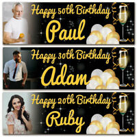 2 personalised birthday banner photo gold champaign adults party balloon poster