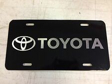Toyota Car Tag Diamond Etched on Black Aluminum License Plate