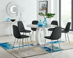 GIOVANI Round Grey White Gloss Glass Dining Table Set & 4 6 Faux Leather Chairs