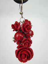 Lastest Handmade Carved Big Red Roses Real Coral Earrings Jewelry Gifts lisa-02