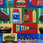 BonEful Fabric FQ Cotton Quilt Red Blue Boy Food Beer Party Team Sport FootBall