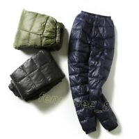 Mens Winter Warm Thicken Down Pants Slim High Waist Outdoor Casual Ski Trousers