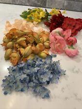 Silk Rose Petals artificial Lot Of 6 Multicolored Rose Cherry Blossom Forsythia