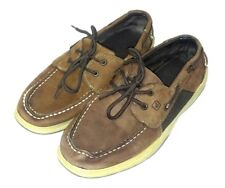 Sperry Top Sider Boys Size 6.5 Shoes Intrepid Brown Leather Boat Dock Lace Up