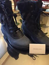 NEW BURBERRY BLACK CHECK SHEARLING DACRE WEATHER SNOW BOOTS - IT 39 8 8.5 9 $475