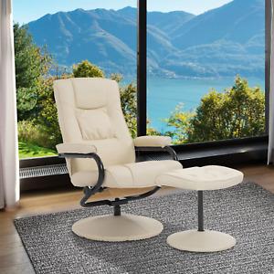 Cream Recliner Armchair Footstool Swivel Lounge Chair Tilt Swivel Sofa Ottoman