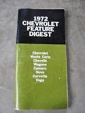 1972 Chevrolet Dealers Sales Digest Manual Corvette Camaro Chevelle Impala Nova
