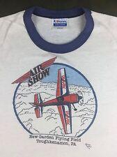 Vintage Mens 80s Air Show Aviator Remax Plane Stunt Show Graphic Ringer T-Shirt