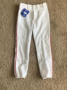 Mizuno Unisex Kids Baseball Pants White Performance Padding Elastic Ankles XL